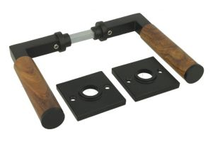 "Doorhandle ""Bauhaus"" cast iron black powder coated with teak"