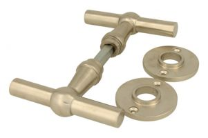 "Door handles T model ""Chemin de fer"" satin nickel pair"