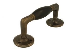 Pull handle 140mm antique brass ebony