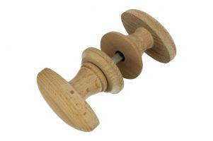 Pair of wooden knobs beech with rosettes spindle size 8mm