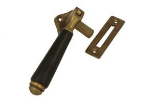 Window fastener reversible antique brass ebony (1908)