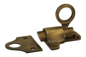 Transom window latch antique brass with catch