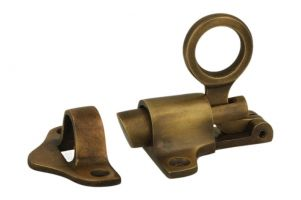 Transom window latch antique brass rabetted door frame