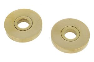Pair round concealed escutcheons polished brass