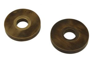 Pair round concealed escutcheons antique brass