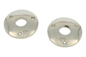 Pair round escutcheons nickel Øhole 15mm