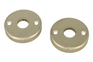 Pair round escutcheons satin nickel (through fixing)