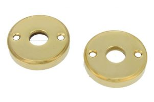 Pair round escutcheons polished brass (through fixing)
