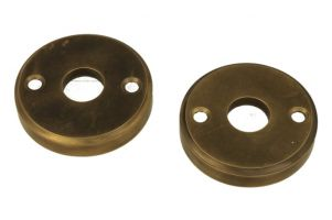 Pair round escutcheons antique brass (through fixing)