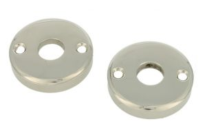 Pair round escutcheons nickel (through fixing)