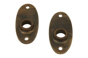 Pair oval escutcheons antique brass (through fixing)
