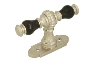 Window handle with rosette satin nickel ebony