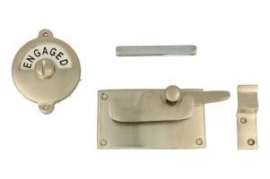 Vacant-Engaged door lock for toilet 92×52mm satin nickel