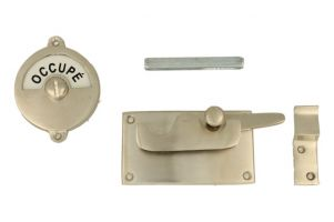 Libre-Occupé door lock for toilet 92×52mm satin nickel