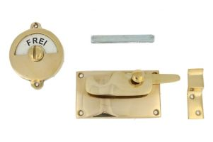 Frei-Besetzt door lock for toilet 92×52mm polished brass