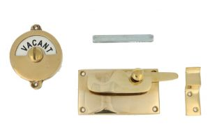 Vacant-Engaged door lock for toilet 92×52mm polished brass