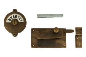 Frei-Besetzt door lock for toilet 92×52mm antique brass