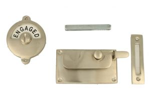 Vacant-Engaged door lock for toilet satin nickel 92×52mm