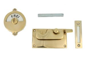 Frei-Besetzt door lock for toilet polished brass 92×52mm