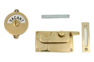 Vacant-Engaged door lock for toilet polished brass 92×52mm