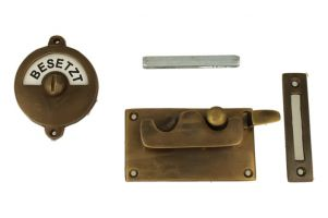 Frei-Besetzt door lock for toilet antique brass 92×52mm