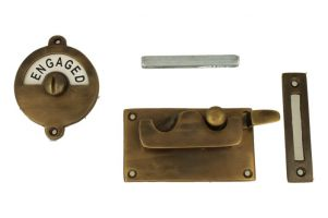 Vacant-Engaged door lock for toilet antique brass 92×52mm
