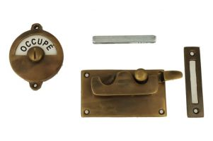 Libre-Occupé door lock for toilet antique brass 92×52mm