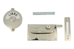 Libre-Occupé door lock for toilet nickel 92×52mm