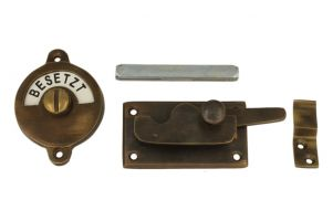 Frei-Besetzt door lock for toilet 70×39mm antique brass