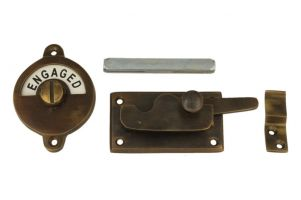 Vacant-Engaged door lock for toilet 70×39mm antique brass