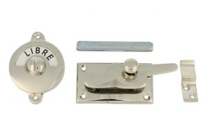 Libre-Occupé door lock for toilet 70×39mm nickel
