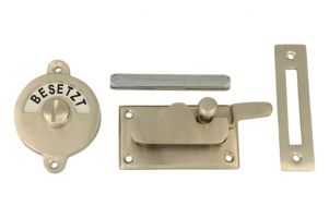 Frei-Besetzt door lock for toilet satin nickel 70x39mm