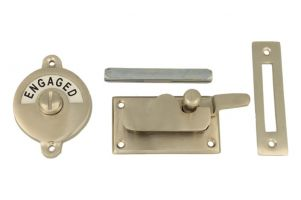 Vacant-Engaged door lock for toilet satin nickel 70x39mm