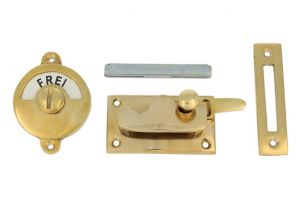 Frei-Besetzt door lock for toilet polished brass 70x39mm