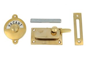 Vacant-Engaged door lock for toilet polished brass 70x39mm