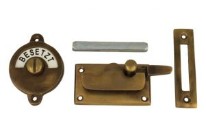 Frei-Besetzt door lock for toilet antique brass 70x39mm