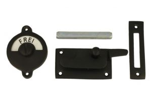 Frei-Besetzt door lock for toilet 70x39mm black powdercoated
