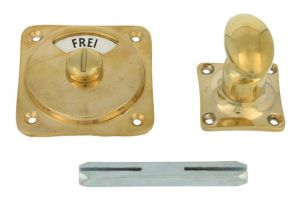 Frei-Besetzt turn and release spindle polished brass