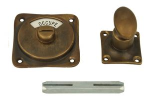 Libre-Occupé turn and release spindle antique brass