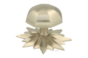 Door knob with star rosette brushed nickel
