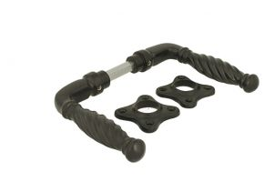 Door handles cast iron powder coated with twisted grip