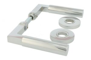 "Door handles ""Bauhaus"" chrome pair with concealed rosettes"