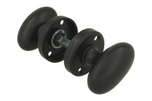 Pair of knobs oval brass black with round rosettes