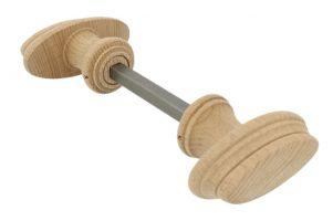 Pair of wooden knobs beech with ornamental edge 75x36mm