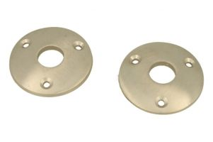 Pair round escutcheons satin nickel Øhole 15mm
