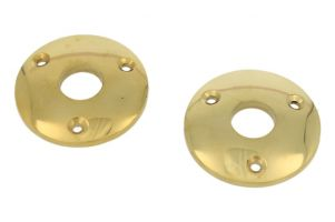 Pair round escutcheons polished brass Øhole 15mm