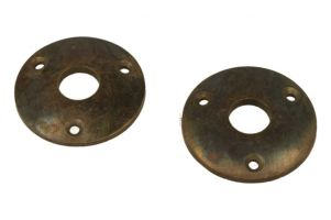 Pair round escutcheons antique brass Øhole 15mm