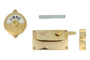 Libre-Occupé door lock for toilet 92×52mm polished brass