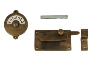Vacant-Engaged door lock for toilet 92×52mm antique brass