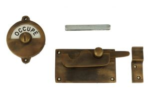 Libre-Occupé door lock for toilet 92×52mm antique brass